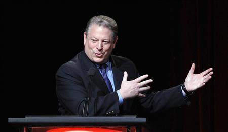 Former U.S. Vice President and Current TV Chairman and co-founder Al Gore speaks during the panel for Current TV's ''Politically Direct'' at the Television Critics Association winter press tour in Pasadena, California in this January 13, 2012 file photo. Al Jazeera said January 3, 2013, it will buy the struggling cable channel in a move that will boost the Qatar-based broadcaster's footprint in the United States. REUTERS/Mario Anzuoni/Files