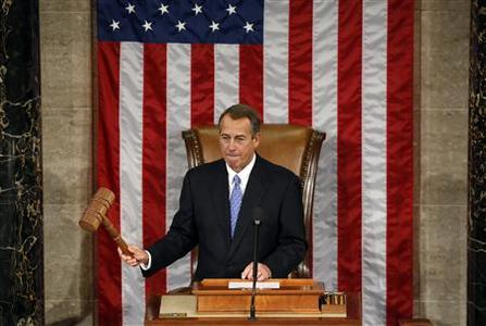 Speaker of the House John Boehner bangs the gavel during the first day of the 113th Congress at the Capitol in Washington January 3, 2013. Despite a rocky few weeks during the ''fiscal cliff'' fight, Boehner won re-election as speaker of the House of Representatives on Thursday and will lead Republicans as they take on the White House over federal spending. Boehner beat Democratic Minority Leader Nancy Pelosi by 220-192 in the speakership vote on the first day of a new Congress. REUTERS/Kevin Lamarque