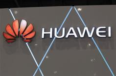 The logo for China-based networking and telecommunications company Huawei is pictured at the ITU Telecom World in Geneva in this October 24, 2011 file photo. China's Huawei Technologies Co Ltd HWT.UL, the world's No.2 telecom equipment maker, expects its 2012 revenues to exceed $35 billion, up 10 percent from a year earlier, its acting CEO Guo Ping said. REUTERS/Denis Balibouse/Files