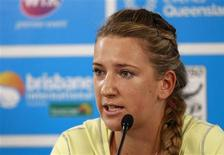Victoria Azarenka of Belarus talks during a news conference in Brisbane January 4, 2013. Azarenka withdrew from the Brisbane International tennis tournament due to an injury in her right big toe. The world number one was supposed to play against third-ranked Serena Williams in a semi-final match of the tournament. REUTERS/Daniel Munoz