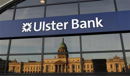 Custom House is reflected in the windows of the Ulster Bank Group offices on the River Liffey in Dublin January 13, 2012. REUTERS/Cathal McNaughton