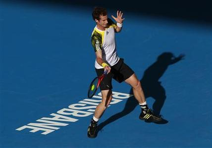 Andy Murray of Britain hits a return to Denis Istomin of Uzbekistan during their men's singles match at the Brisbane International tennis tournament January 4, 2013. REUTERS/Daniel Munoz