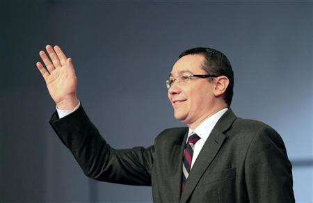 Romania's Prime Minister, Social Liberal Union (USL) co-leader and Social Democrat Party President Victor Ponta waves during an electoral rally in Craiova, 230km (143 miles) west of Bucharest December 7, 2012. REUTERS/Radu Sigheti