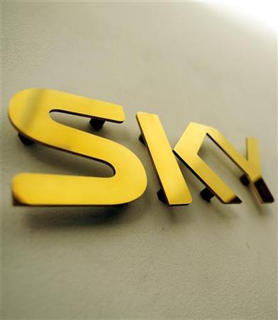 A Sky logo is seen outside a television studio in central London July 30, 2009. REUTERS/Toby Melville