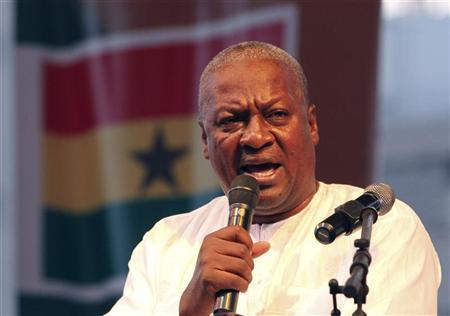 Ghanaian newly elected president John Dramani Mahama gives a speech as he attends a victory rally to thank the supporters of NDC (National Democratic Congress), the party of the late president John Atta Mills, in Accra December 10, 2012. REUTERS/Luc Gnago