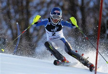 Mikaela Shiffrin of the U.S. clears a gate during the first run of the Alpine Skiing World Cup women's slalom ski race in Zagreb January 4, 2013. REUTERS/Antonio Bronic