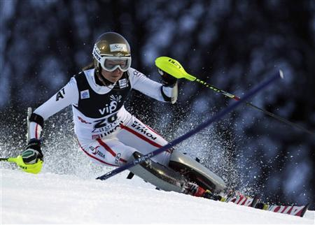 Bernadette Schild of Austria clears a gate during the first run of the Alpine Skiing World Cup women's slalom ski race in Zagreb January 4, 2013. REUTERS/ Antonio Bronic