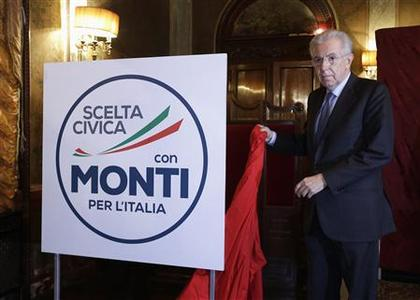 Outgoing Italian Prime Minister Mario Monti unveils the symbol of his party reading ''Civil choice with Monty for Italy'' during a news conference in Rome January 4, 2013. REUTERS/Max Rossi (ITALY - Tags: POLITICS)