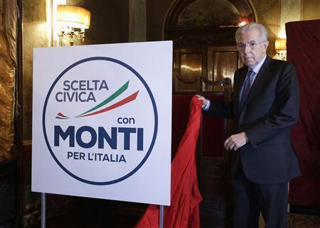 Italy's Monti unveils alliance, rules out minister role
