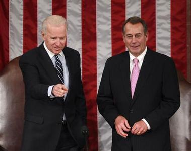U.S. Vice President Joe Biden (L) and House Speaker John Boehner (R-OH) preside over a joint session of Congress to count the Electoral College Ballots for the U.S. Presidential election on Capitol Hill in Washington, January 4, 2013. REUTERS/Jason Reed