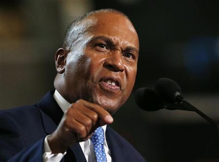 Massachusetts Governor Deval Patrick addresses the first session of the Democratic National Convention in Charlotte, North Carolina September 4, 2012. REUTERS/Eric Thayer