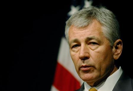 U.S. Senator Chuck Hagel speaks during a news conference at the U.S. embassy in Islamabad in this April 13, 2006 file photo. REUTERS/Mian Khursheed