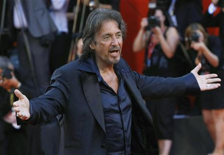 Director and actor Al Pacino poses for photographers as he arrives for the ''Wilde Salome'' red carpet at the 68th Venice Film Festival September 4, 2011. REUTERS/Alessandro Garofalo
