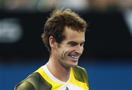 Andy Murray of Britain smiles during his men's singles semi-final match against Kei Nishikori of Japan at the Brisbane International tennis tournament January 5, 2013. REUTERS/Daniel Munoz