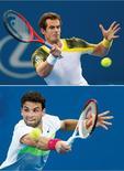 Le Britannique Andy Murray s'est qualifié samedi pour la finale du tournoi ATP de Brisbane sur abandon de son adversaire, le Japonais Kei Nishikori et y rencontrera dimanche le Bulgare Grigor Dimitrov, vainqueur du Chypriote Marcos Baghdatis. /Photos prises le 5 janvier 2013/REUTERS/Daniel Munoz