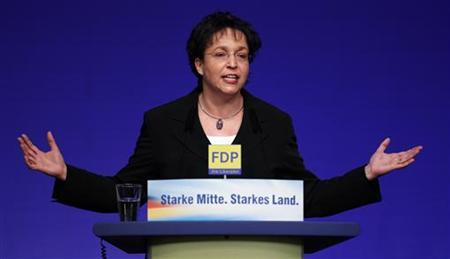 Vice Chairwomen of Germany's liberal free Democratic party (FDP) Birgit Homburger delivers a speech during the FDP's traditional epiphany meeting in Stuttgart January 6, 2012. REUTERS/Alex Domanski (GERMANY - Tags: POLITICS)
