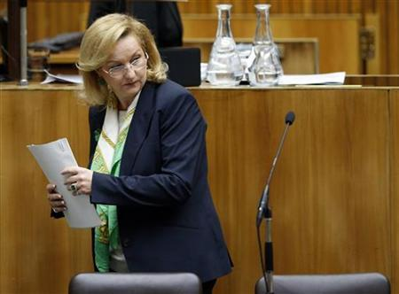 Austrian Finance Minister Maria Fekter arrives to present the 2013 budget in the parliament in Vienna October 16, 2012. REUTERS/Leonhard Foeger