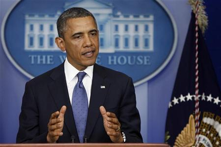 U.S. President Barack Obama makes remarks to reporters after meeting with congressional leaders at the White House in Washington December 28, 2012. REUTERS/Jonathan Ernst
