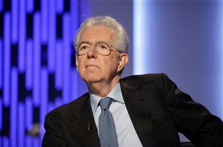 Italy's outgoing Prime Minister Mario Monti poses before the taping of the talk show ''Otto e mezzo'' (Eight and a half) at La7 television in Rome January 4, 2013. REUTERS/Max Rossi