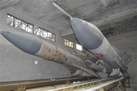 Missiles are seen at a Syrian air defense base after Free Syrian Army fighters seized the base, in eastern Ghouta, on the eastern edge of Damascus, December 31, 2012. REUTERS/Karm Seif /Shaam News Network/Handout
