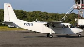 The Britten-Norman BN-2 Islander aircraft YV-2615, which was reported missing on January 4, 2013, is pictured in this undated handout photo. Venezuelan air and sea rescue services were searching on Saturday for the plane, which was carrying fashion executive Vittorio Missoni, his wife and four others, after it went missing off the coast of Venezuela. The plane disappeared after taking off from the resort of Los Roques, an archipelago off the coast, the company said in a statement. REUTERS/Nacional Institute of Civil Aviation/Handout