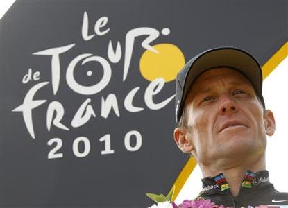 Radioshack team rider Lance Armstrong of the U.S. poses on the podium in Paris after the final 20th stage of the 97th Tour de France cycling race between Longjumeau and Paris in this July 25, 2010 file photo. Armstrong, the disgraced American cyclist at the center of the biggest doping scandal in the sport's history, may admit he used performance-enhancing drugs during his career, the New York Times reported in editions on January 5, 2013, citing ''several people with direct knowledge of the situation.'' The newspaper said Armstrong, 41, has told associates and anti-doping officials he may make the admission in hopes of persuading anti-doping officials to allow him to resume competition in athletic events that adhere to the World Anti-Doping Code, under which Armstrong is currently subject to a lifetime ban. REUTERS/Eric Gaillard/Files