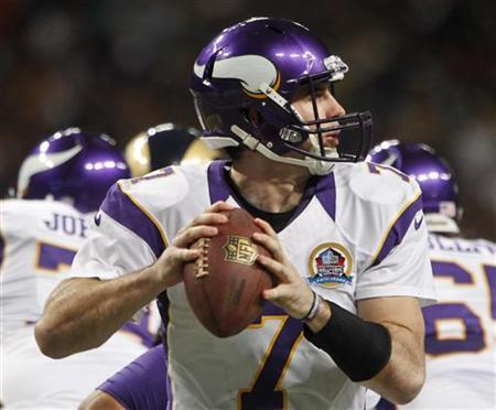 Minnesota Vikings quarterback Christian Ponder looks for a pass during the first half of their NFL football game against the St. Louis Rams in St. Louis, Missouri, December 16, 2012. REUTERS/Sarah Conard
