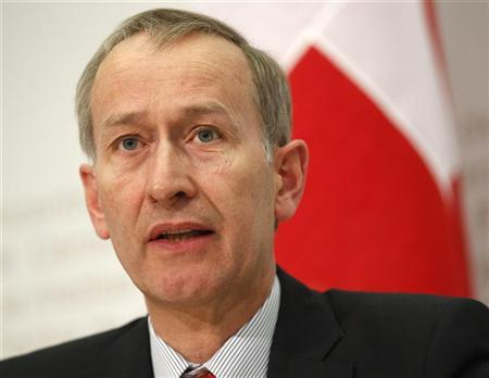 Swiss Secretary of State in the finance department Michael Ambuehl speaks during a news conference after the weekly meeting of the Federal Council in Bern February 22, 2012. REUTERS/Ruben Sprich
