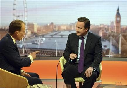 Prime Minister, David Cameron (R) speaks on the BBC's Andrew Marr Show in London January 6, 2013. REUTERS/Jeff Overs/BBC/Handout