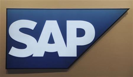 Logo of German company SAP is pictured at the CeBit computer fair in Hanover, March, 6, 2012. The biggest fair of its kind will run to March 10, 2012. REUTERS/Fabian Bimmer (GERMANY - Tags: BUSINESS TELECOMS SCIENCE TECHNOLOGY LOGO)