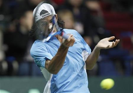 File photo of India's Somdev Devvarman during a Davis Cup World Group first round match in Moscow March 7, 2010. REUTERS/Grigory Dukor/Files