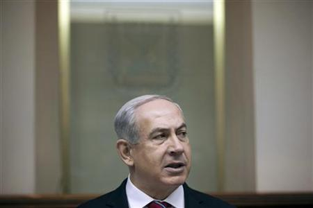 Israel's Prime Minister Benjamin Netanyahu attends the weekly cabinet meeting in Jerusalem January 6, 2013. REUTERS/Uriel Sinai/Pool