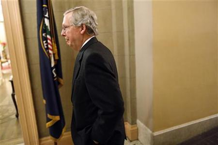 U.S. Senate Minority Leader Mitch McConnell returns to his office after a senate vote in the early morning hours at the U.S. Capitol in Washington January 1, 2013. REUTERS/Jonathan Ernst/Files