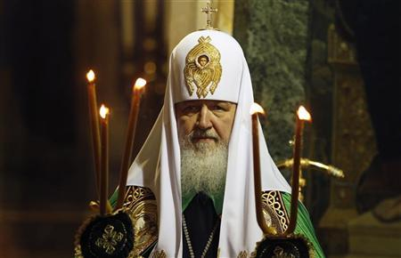 Patriarch of Moscow and All Russia Kirill leads the Sunday mass in Alexander Nevski golden-domed cathedral in central Sofia April 29, 2012. REUTERS/Stoyan Nenov