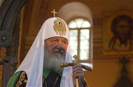 Patriarch Kirill, the head of the Russian Orthodox Church, visits the Church of Mary Magdalene on the Mount of Olives outside Jerusalem's Old City November 12, 2012. REUTERS/Ronen Zvulun