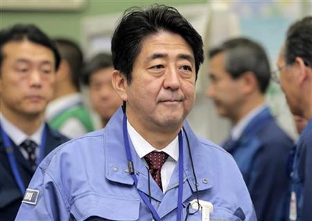 Japan's new Prime Minister Shinzo Abe inspects the tsunami-crippled Fukushima Daiichi nuclear power plant in Fukushima Prefecture December 29, 2012. REUTERS/Itsuo Inouye/Pool