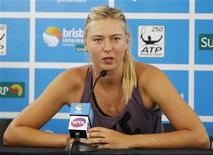 Maria Sharapova of Russia speaks during a news conference at the Brisbane International tennis tournament in Brisbane January 1, 2013. REUTERS/Daniel Munoz