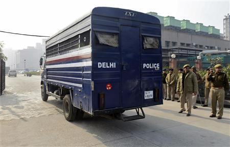 A police van carrying five men accused of the gang rape and murder of an Indian student arrives at a court in New Delhi January 7, 2013. Five men accused of the gang rape and murder of an Indian student appeared in court on Monday to hear charges against them, after two of them offered evidence possibly in return for a lighter sentence in the case that has led to a global outcry. The five men, along with a teenager, are accused of raping the 23-year-old physiotherapy student on a bus in New Delhi. She died two weeks later on December 28 in a Singapore hospital. REUTERS/Stringer