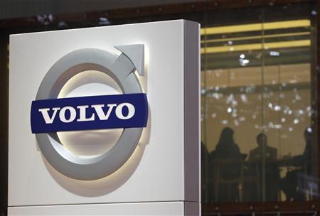 A logo is pictured on the Volvo booth during the second media day of the 82nd Geneva Auto Show at the Palexpo Arena in Geneva March 7, 2012. REUTERS/Denis Balibouse