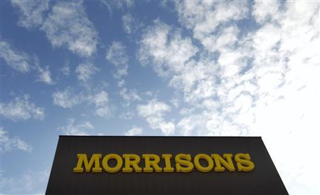 A sign is seen outside a Morrisons supermarket, in south London in a September 9, 2010 file photo. Britain's Wm Morrison Supermarkets posted a worsening sales fall over Christmas and said although it was disappointed with its performance it would still meet year profit forecasts. REUTERS/Andrew Winning