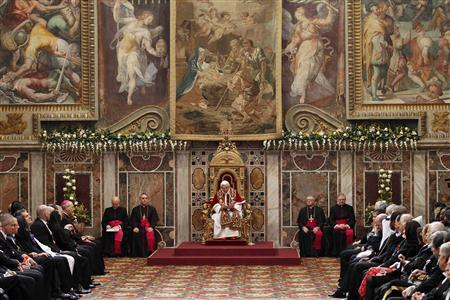 Pope Benedict XVI attends an audience with the foreign ambassadors to the Holy See at the Vatican January 7, 2013. REUTERS/Giampiero Sposito