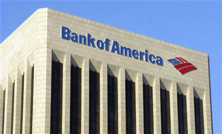 The logo of the Bank of America is pictured atop the Bank of America building in downtown Los Angeles November 17, 2011. Protesters took to the streets in cities across the U.S. for a day of action seen as a test of the momentum of the two-month-old grass-roots movement against economic inequality. Occupy Los Angeles protestors have gathered and threatened to set up tents for the night outside the Bank of America building in Los Angeles. REUTERS/Fred Prouser (UNITED STATES - Tags: BUSINESS POLITICS CIVIL UNREST LOGO)