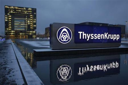 The headquarters of Germany's industrial conglomerate ThyssenKrupp AG is pictured before its annual news conference in Essen December 11, 2012. ThyssenKrupp AG, Germany's top steelmaker, posted a massive 4.7 billion euro ($6.1 billion) net loss for the year as it took a painful write-down on steel mills in the United States and Brazil that it is trying to sell. REUTERS/Ina Fassbender (GERMANY - Tags: BUSINESS INDUSTRIAL COMMODITIES LOGO)
