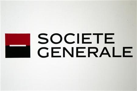 The logo of Societe Generale bank is pictured during a news conference to present the bank's 2011 annual results in La Defense near Paris February 16, 2012. REUTERS/Charles Platiau