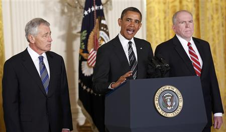U.S. President Barack Obama (C) announces his nominees for new U.S. Secretary of Defense former Republican U.S. Senator Chuck Hagel (L) and new CIA director White House counterterrorism adviser John Brennan (R) at the White House in Washington January 7, 2013. REUTERS/Kevin Lamarque
