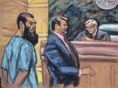 Abid Naseer (L) is seen in a courtroom sketch with his attorney Steven Brounstein (C) and Judge Raymond Dearie as he pleads not guilty to terrorism charges in his first U.S. court appearance in New York January 7, 2013. REUTERS/Jane Rosenberg