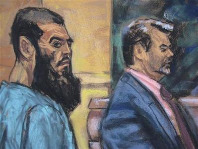 Abid Naseer (L) is seen in a courtroom sketch with his attorney Steven Brounstein as he pleads not guilty to terrorism charges in his first U.S. court appearance in New York January 7, 2013. REUTERS/Jane Rosenberg