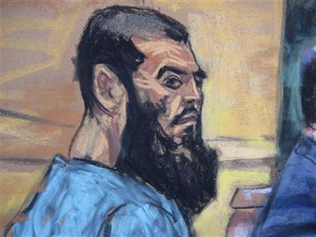 Abid Naseer, 26, is seen in a courtroom sketch as he pleads not guilty to terrorism charges in his first U.S. court appearance in New York January 7, 2013. REUTERS/Jane Rosenberg
