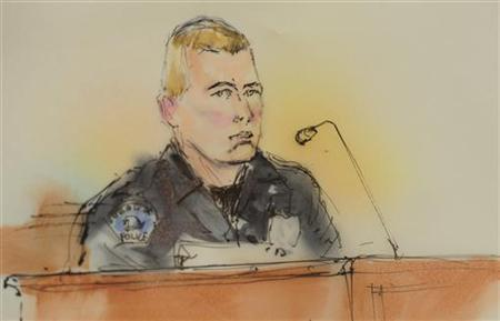 A courtroom sketch shows Aurora Police officer Jason Oviatt giving testimony at a preliminary hearing in the case against James Holmes, the accused suspect in the July 20, 2012 theater shootings in Centennial, Colorado January 7, 2013. REUTERS/Bill Robles