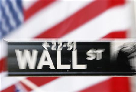 A Wall St. sign is seen outside the New York Stock Exchange September 30, 2008. REUTERS/Lucas Jackson/Files